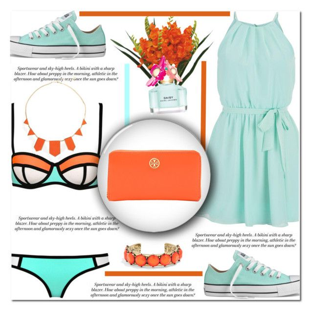 """""""Weekend Pool Party"""" by antemore-765 ❤ liked on Polyvore featuring maurices, Marc Jacobs, Converse, House of Harlow 1960, Tory Burch and BaubleBar"""