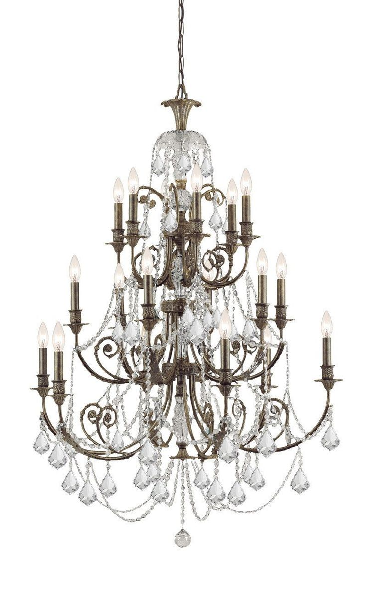 Crystorama Clear Hand Cut Crystal Wrought Iron Chandelier 18 Lights – English Bronze – 5117-eb-cl-mwp