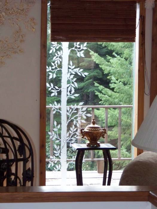 Etched Glass Look Aspen Tree Window Vinyl For Glass