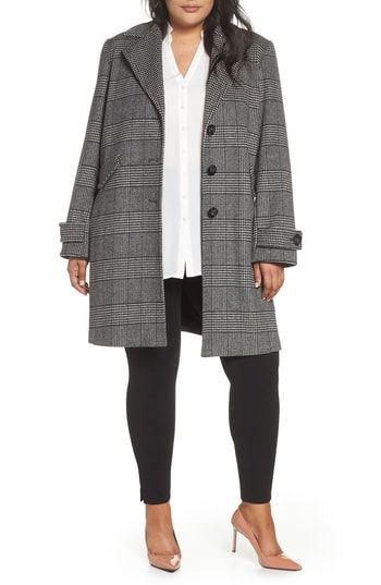 8b89bb9652bbc New Halogen Plaid Mix Wool Blend Coat (Plus Size) women s coats Jacket  online.   299  alltrendytop offers on top store