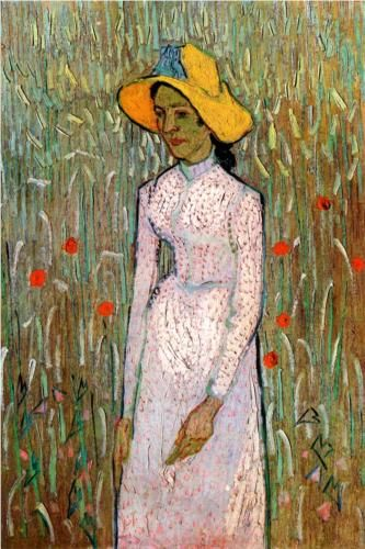 Young Girl Standing Against a Background of Wheat - Vincent van Gogh
