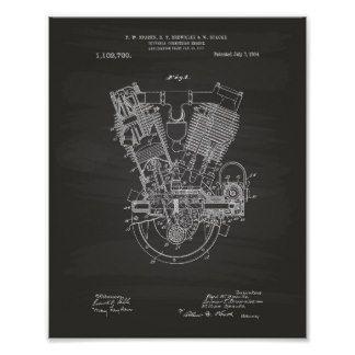Internal Combustion Engine 1914 Patent Chalkboard Poster