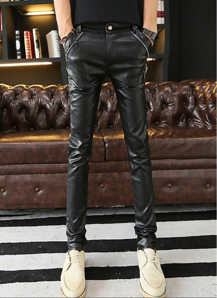 New 2017 Mens Leather Pants Slim Fit Faux Leather motorcycle Skinny Sweatpants Bright Leather trousers Black Free Shipping