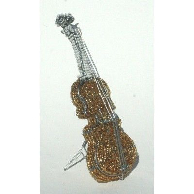Gold wire beaded standing guitar ornament artwork handmade in Africa – handmade to perfection
