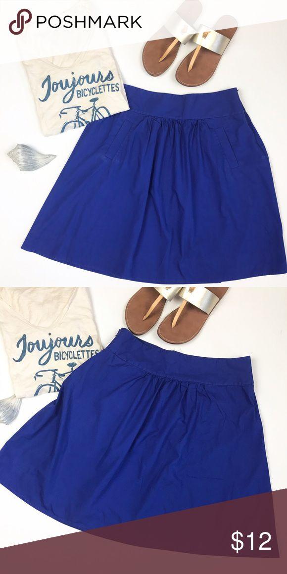 J. Crew factory cobalt blue skirt size 10 J. Crew factory good condition cobalt blue a line skirt with pleating details. Side zip. Pockets on front. Size 10. Waist 16, length 21. J. Crew Factory Skirts A-Line or Full