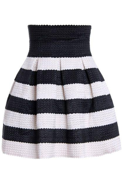 Romwe Stripeed Puff Negro Falda - http://www.romwe.com/romwe-stripeed-puff-black-skirt-p-73566.html