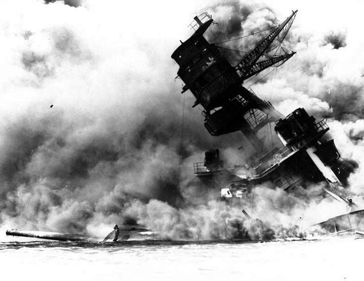 USS Arizona BB-39   December 7, 1941: USS Arizona BB-39 burning after her forward magazine ...