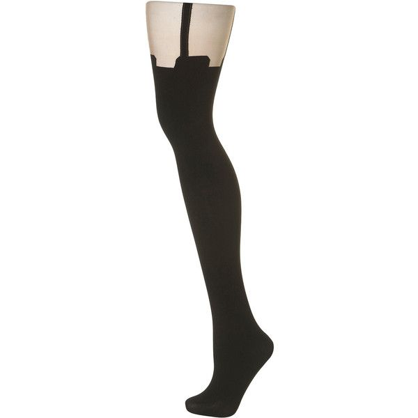 Henry Holland Suspender Tights ($24) ❤ liked on Polyvore featuring intimates, hosiery, tights, leggings, stockings, socks, topshop, black, black stockings and nylon pantyhose