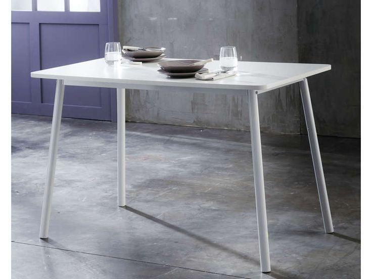 Cuisine Eggo Gris Soie : Table de cuisine FORM coloris blanc  Vente de Table de cuisine