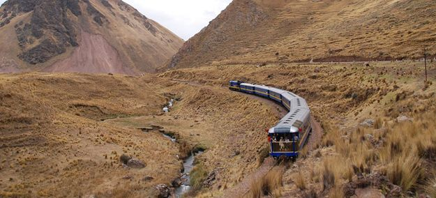 Perurail | If you start your journey in Ollantaytambo, Peru, which is just 2 hours outside of Cusco, you have the option to take Perurail's crazy Vistadome trains to the summit of the site. If you never get to travel via rail, like most of America, you'll be amazed at the enormous windows that crawl up the sides of the train cars and curl around the roof. They're perfect for watching staggering mountains rush past you.