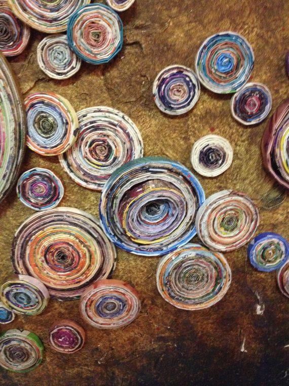 MENTE tribale Mix media pittura ad olio con bobine di di Artesa