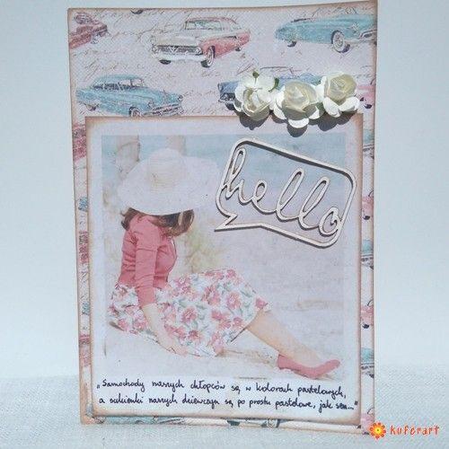 Pastelowa kartka z kobietą i samochodami - Kartki hand made - Papier