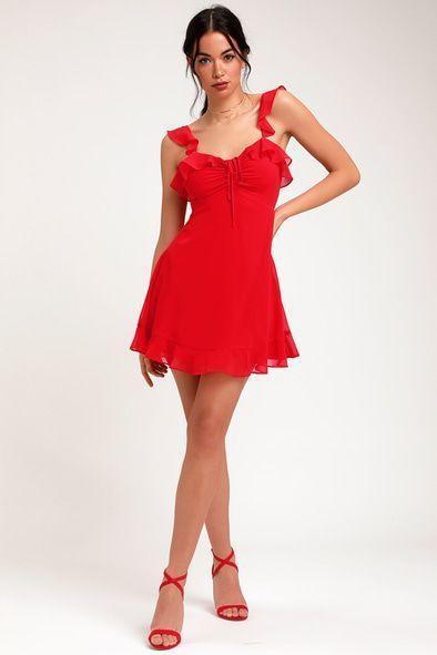 340dfc6aba AT THE FAIRGROUNDS RED RUFFLED MINI DRESS | Attire | Dresses ...