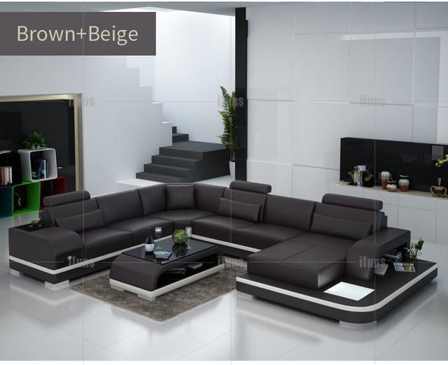 Ifuns Orange And White Customized Color Italian Leather Sofa U Shaped Luxury Sofa Living Room Sets Furniture Living Room Sofa Set Quality Living Room Furniture
