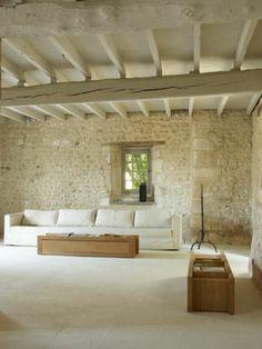salon de style loft avec un mur en pierre de parement intérieur