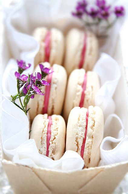 Vanilla bean and strawberry macaroons