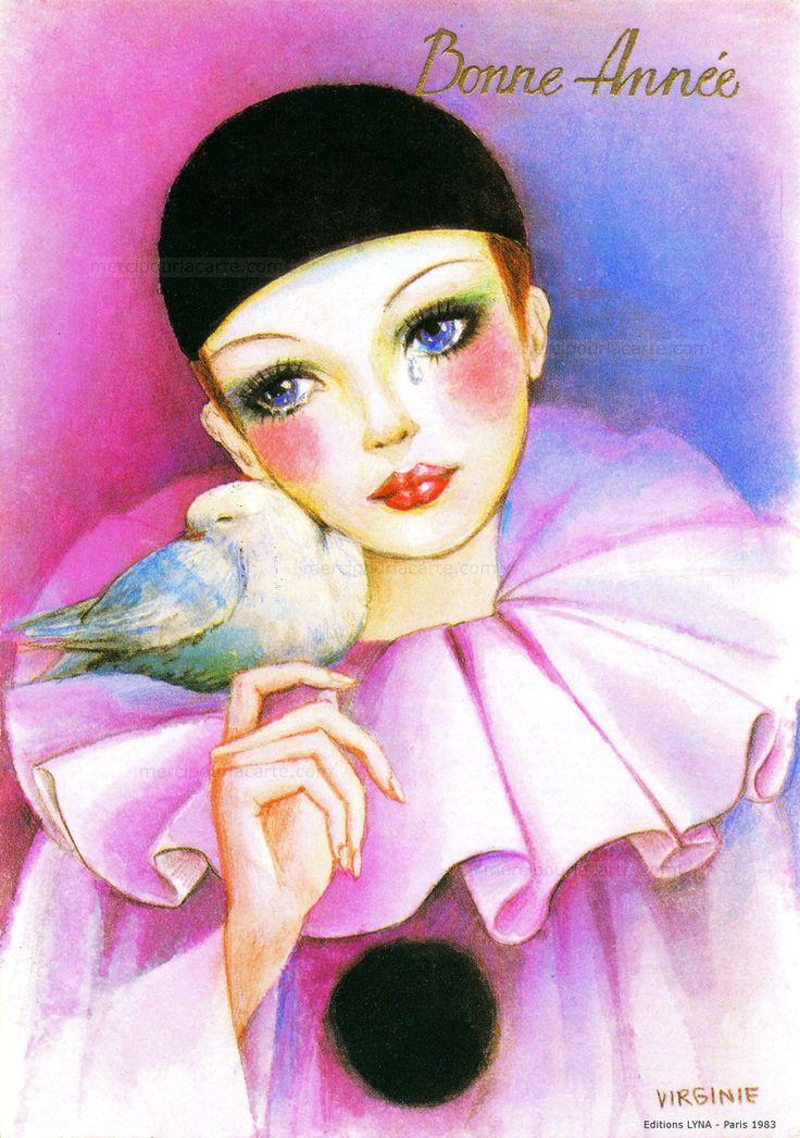 Bonne Année - Pierrot avec une collerette rose et calotte noire verse une larme, une colombe contre sa joue - 1983 (from http://mercipourlacarte.com/picture?/1563/)