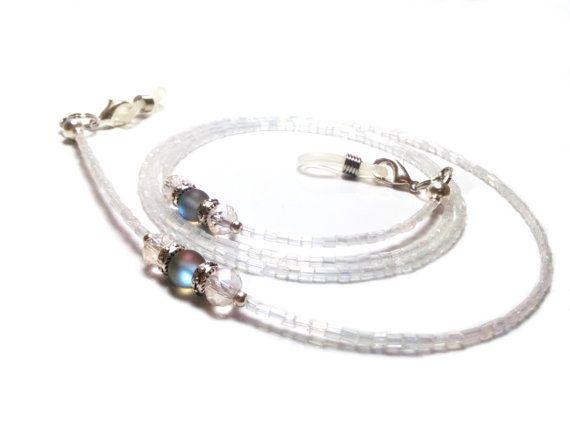 White Beaded Eyeglasses Chain White Eyeglasses by mssdelilah