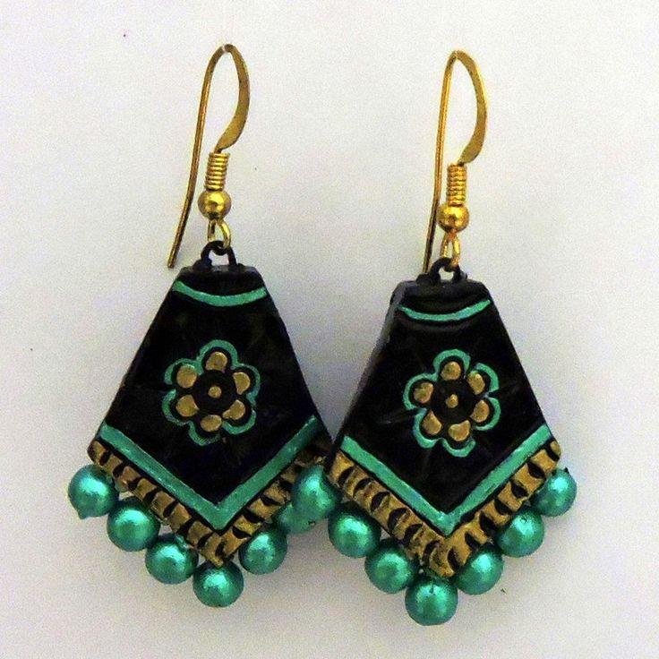 Terracotta Pentagon Shaped Green Black Earrings