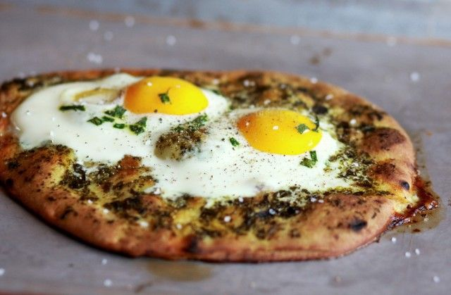 Pesto and Baked Egg Pizza...looks good!