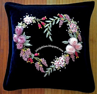 Velvet cushion cover using satin and organza ribbons.