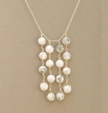 White and grey stone drops necklace