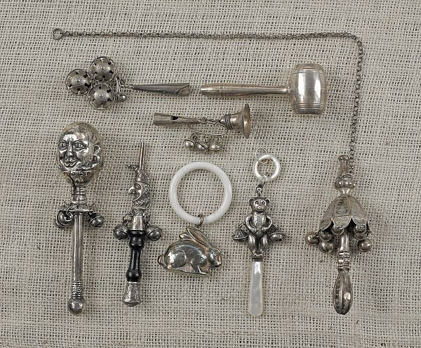 silver baby rattles, late 19th and early 20th c.