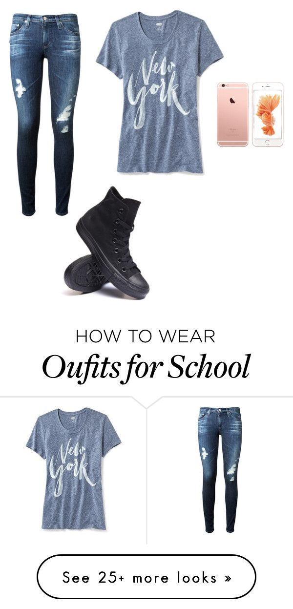 """School day"" by camryhenry on Polyvore featuring AG Adriano Goldschmied, Old Navy and Converse"
