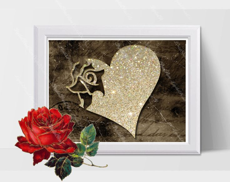 Heart Rose 01 Wedding Gift, Glitter Decor, Nursery, Silhouette, Modern Art, Comercial Use by DigitalPrintStore on Etsy