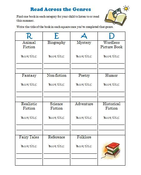 free summer reading log printable genre challenge - Printable Books For Kids