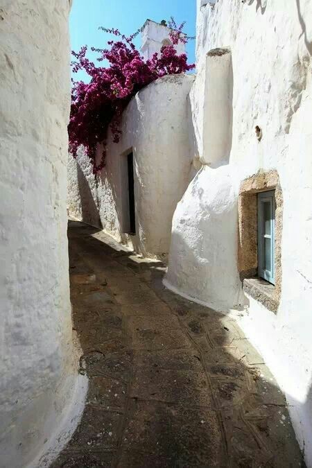 Patmos island Greece in the city of Chora surrounding the monastery of St John the Divine.