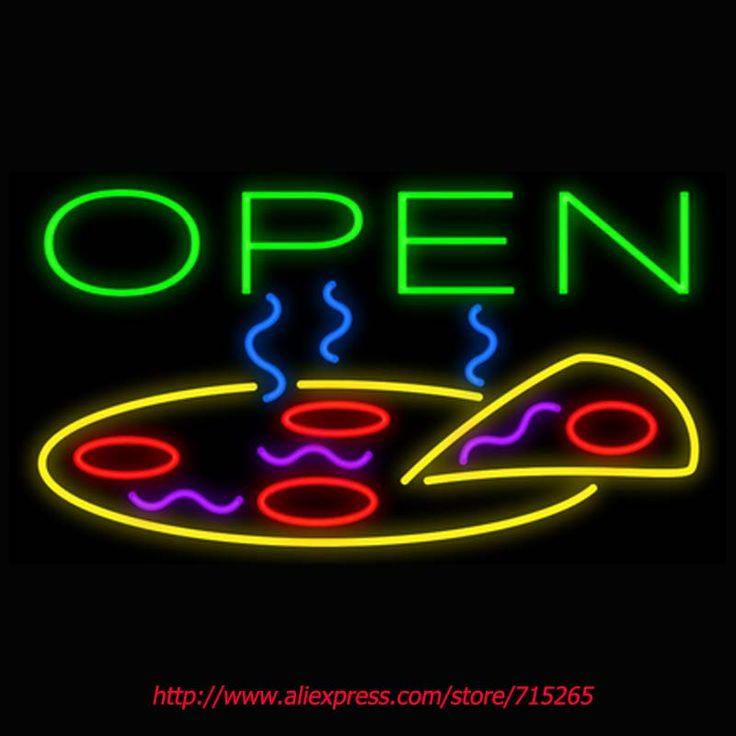 Открытое Пицца Неоновые Вывески Доска Неоновая Лампа Настоящее GlassTube ручной Пивной Бар Паб Игровая Комната Бизнес Школа Магазин Дисплей 17x14