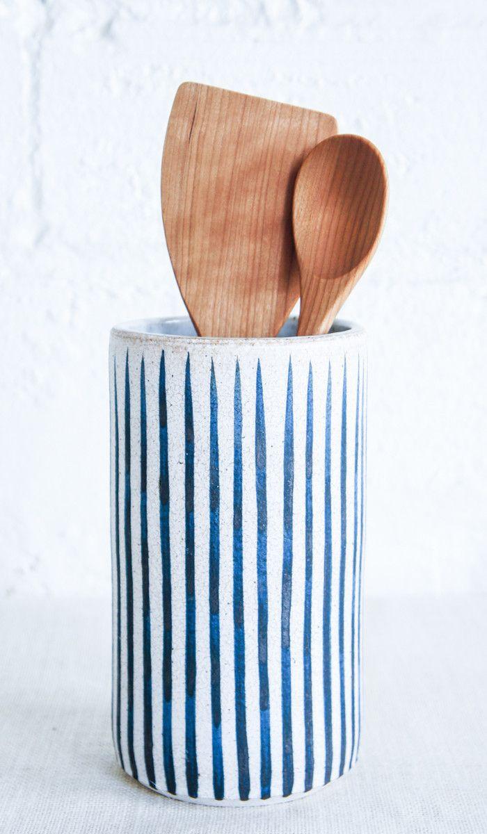 MQuan Indigo Stripe Ceramic Vase