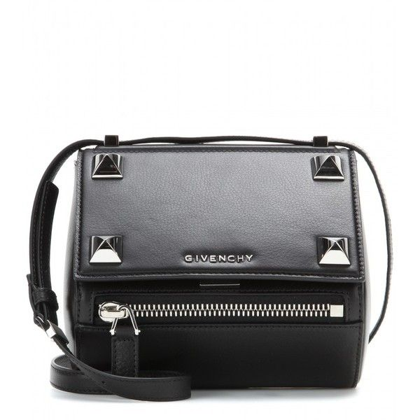 Givenchy Pandora Box Mini Embellished Leather Shoulder Bag (2 831 AUD) ❤ liked on Polyvore featuring bags, handbags, shoulder bags, purses, black, leather shoulder bag, black leather purse, givenchy handbags, leather handbags and black leather handbags