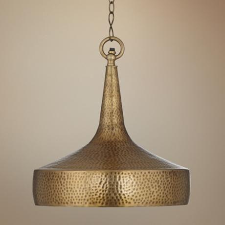Zaria 13 Wide Antique Brass Pendant Light Lamps Plus