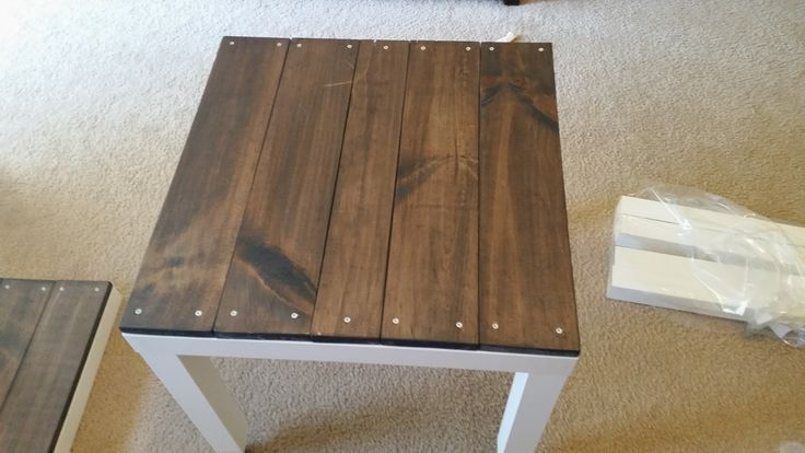 """Simply LKJ: Ikea Lack Hack For one table you will need: $8 IKEA LACK white side table Wood screws #6 1.75"""" One 3 1/4"""" wide board Four 4 9/16""""  wide boards The length on each board should be 21 5/8""""  Stain is Varathane Poly+Stain (Kona color)"""
