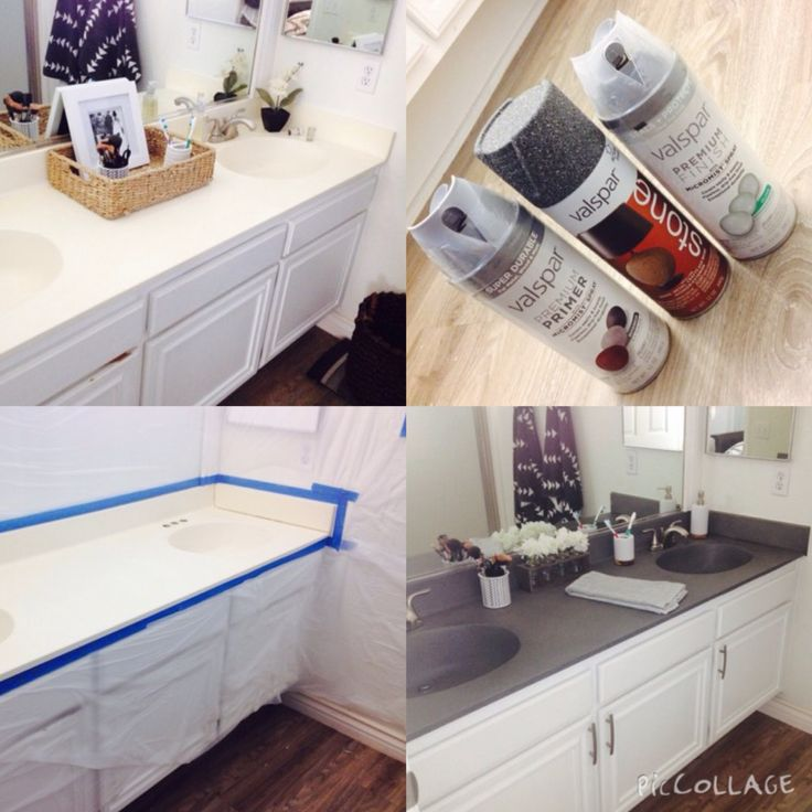 DIY | painting bathroom countertops using stone spray paint #BathroomRemodel …