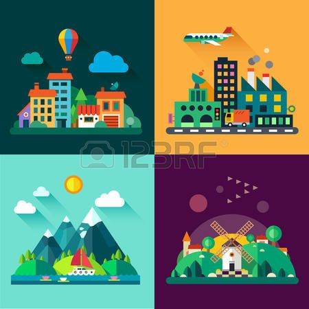Color vector flat icon set and illustrations urban and village landscapes: nature mountains lake boating vacation sun trees house mills field city factory pollution cars skyscrapers photo