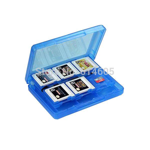 Синий 28-в-1 игры карты памяти чехол обложка держатель гильзы чемодан для Nintendo 3DS