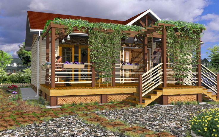 Small House 3D Model / Rendering - Created by Michael Pechkurov using TurboFloorPlan 3D Home & Landscape Pro v16 design software | #CAD #Software, #Design, #Drafting, #Rendering, #3D #Model, #Architectural #Design, #Home #Design, #Floorplan