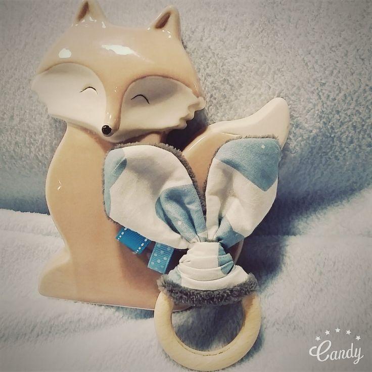 Hochet oreilles de lapin★ hochet de dentition en bois non traité pour bébé★ cadeau de naissance ★baleine, bleu : Jeux, peluches, doudous par mesbouillesabisous