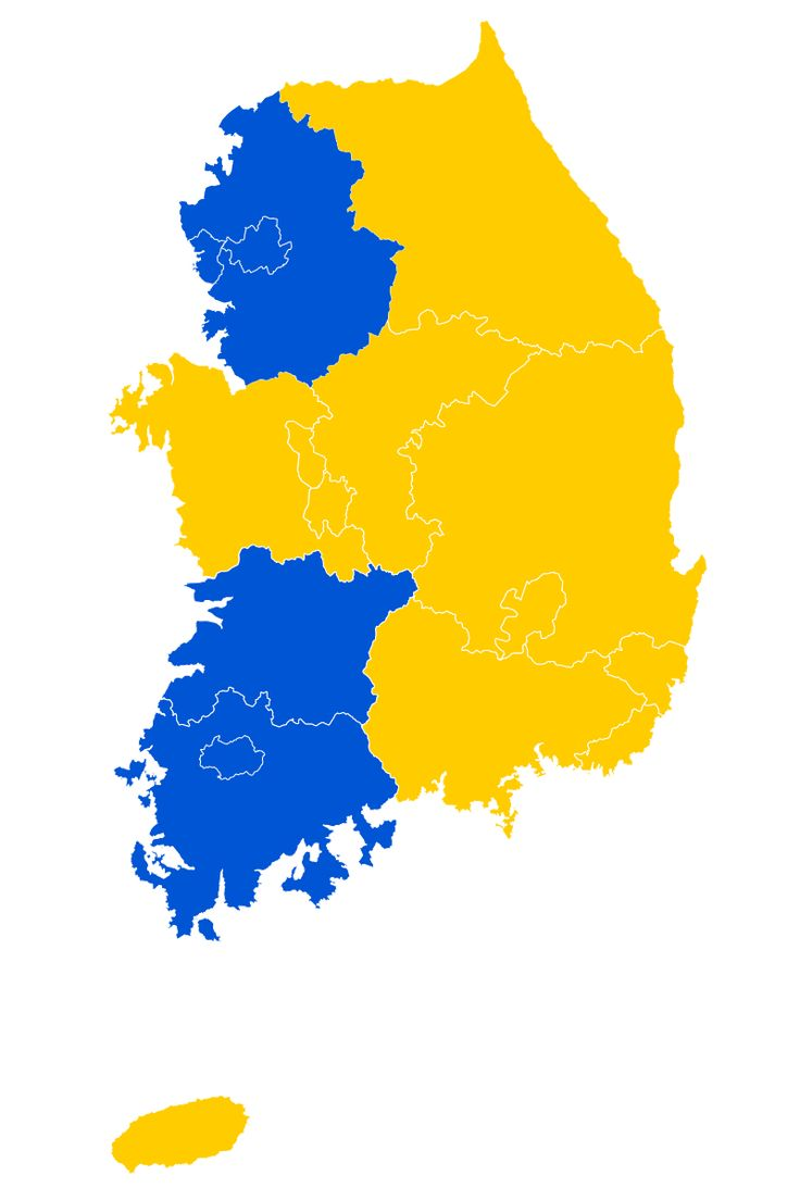 Largest religion by province in South Korea. Gold: Korean Buddhism ; Blue: Protestantism