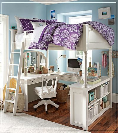 Usually no too into loft beds with desks, but this one has a vanity and bookshelves and is just adorable!