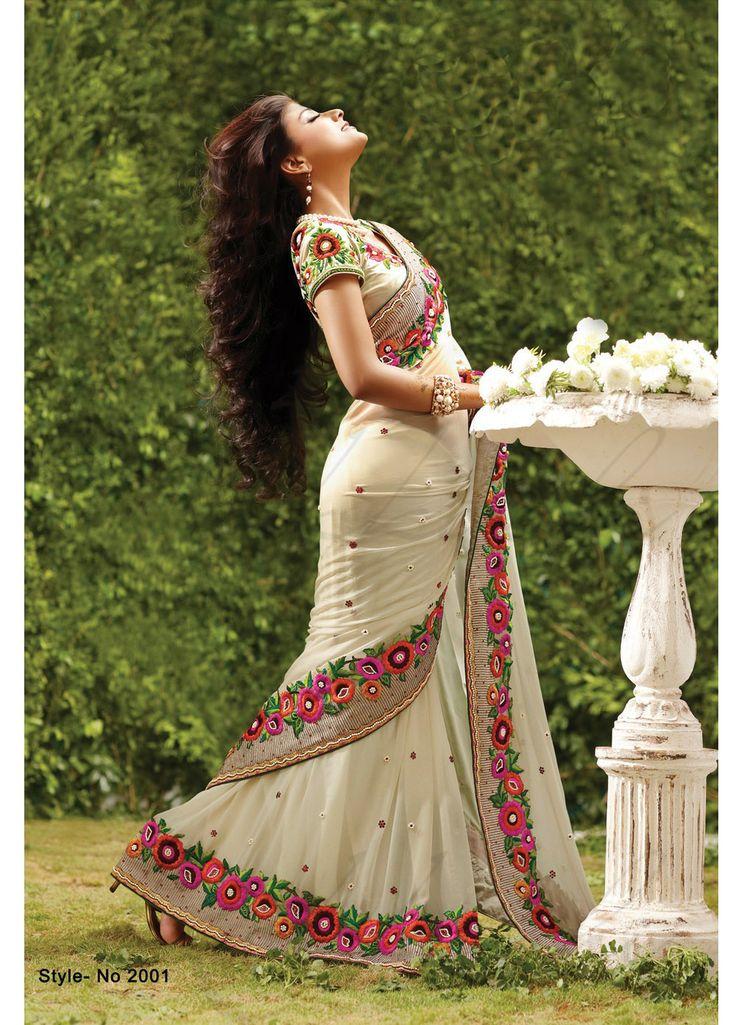 Creamy georgette saree with pearl motif work with zari embroidered border. #SalwarKameez #Salwar #Indian #Ethnic #Anarkali #LongAnarkali #FloorlengthAnarkali #PartywearAnarkali #India #IndianEthnicWear #Beautiful #Designerwear #PartywearSaree #DesignerSaree #BridalSaree #Bridal #Sari #BridalLehenga #Lehenga