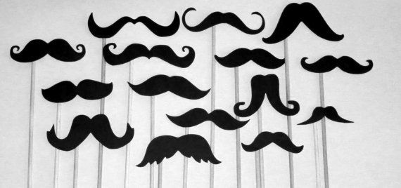 DIY 15 Black Mustache Photo Booth Props Wedding Photo by PartyHQ, $6.00