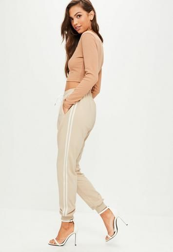 Nude Double Side Stripe Cuffed Joggers  | Missguided