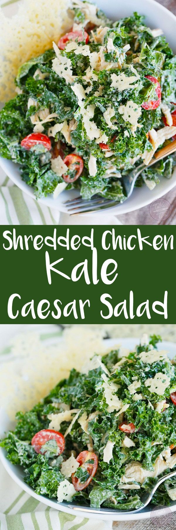 All Food and Drink: Shredded Chicken Kale Caesar Salad with Parmesan C...
