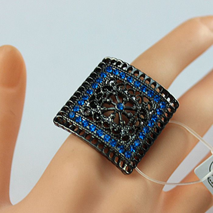 hand-woven A black square hollow ring Enchase blue semi-precious stones 2015 new women's fashion jewelry Free Shipping