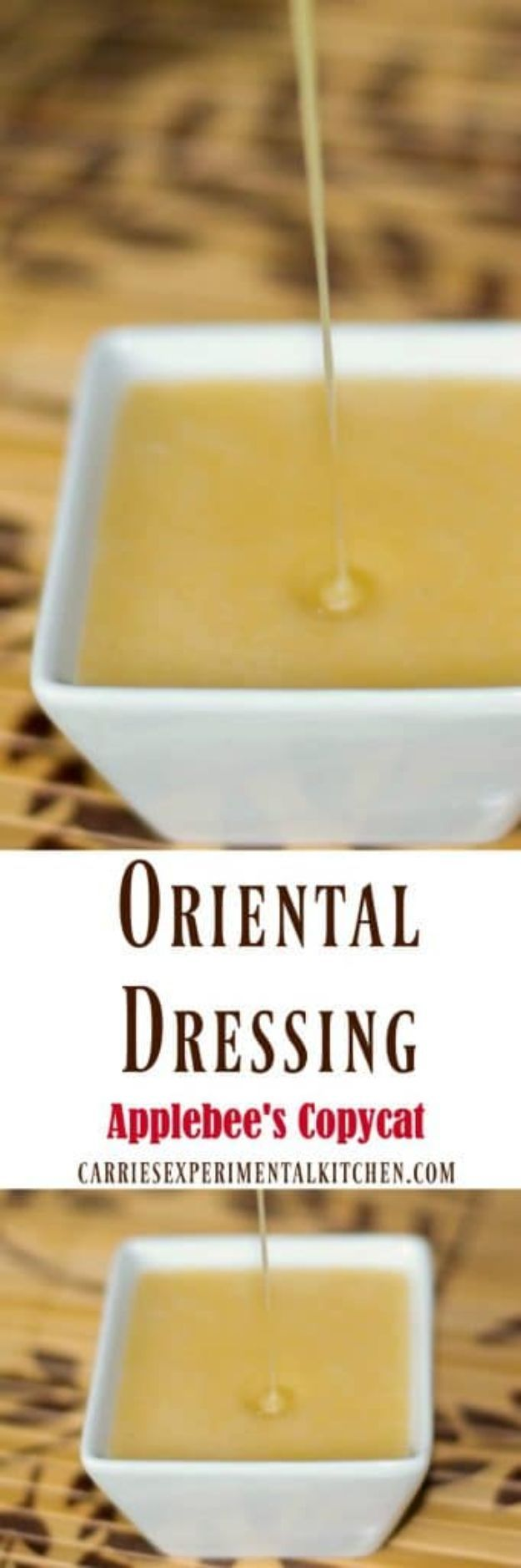 50 More Best Copycat Recipes From Top Restaurants - Applebee's Copycat Oriental Dressing - Awesome Recipe Knockoffs and Recipe Ideas from Chipotle Restaurant, Starbucks, Olive Garden, Cinabbon, Cracker Barrel, Taco Bell, Cheesecake Factory, KFC, Mc Donalds, Red Lobster, Panda Express http://diyjoy.com/best-copycat-restaurant-recipes