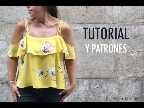 DIY: How To Make A Denim Off The Shoulder Ruffle Crop Top | Raylene Harvey - YouTube